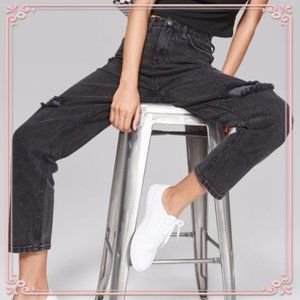 Wild Fable High-Rise Destructed Straight Mom Jeans
